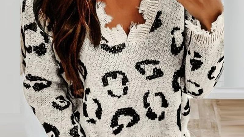 Cheetah Print V-neck Ripped Sweater