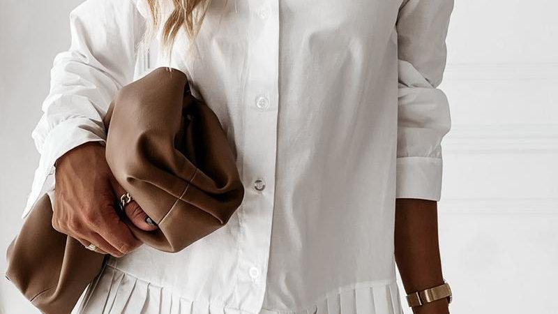Plain Button Design Pleated Shirt Dress