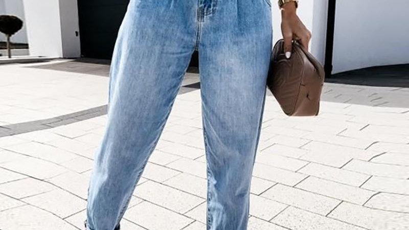 High Waist Pockets Design Casual Jeans