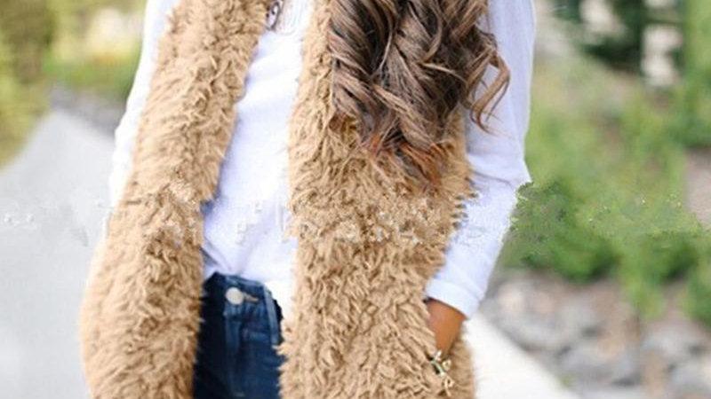 Solid Open Front Sleeveless Fluffy Vest Coat