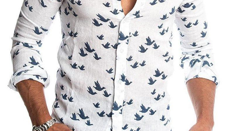 Swan Print Button-Down Shirt