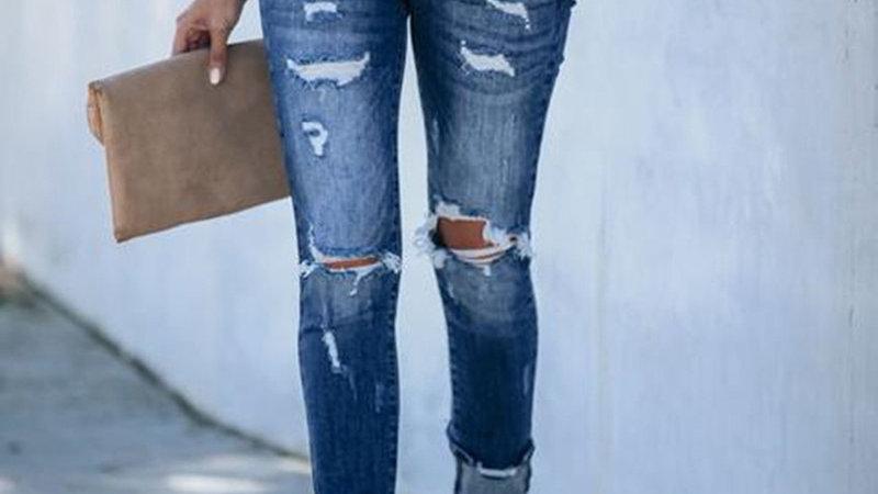 Ripped Cutout Pocket Design Denim Jeans