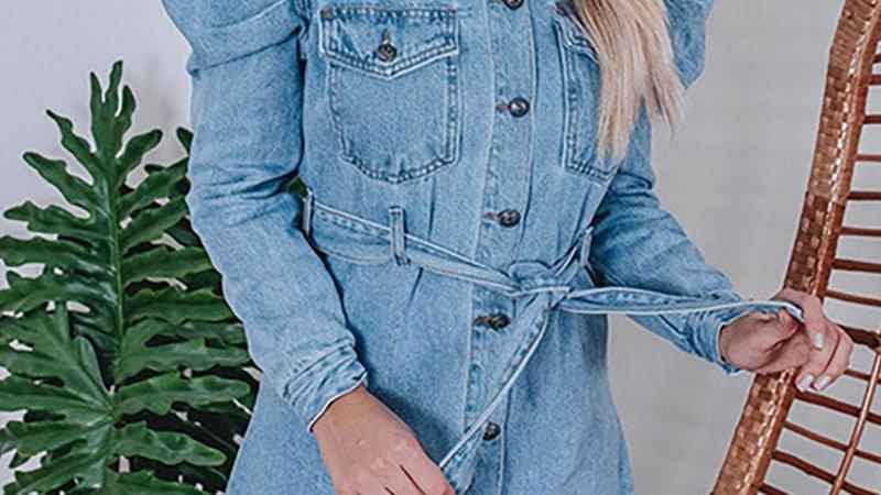 Puffed Sleeve Buttoned Pocket Design Denim Dress