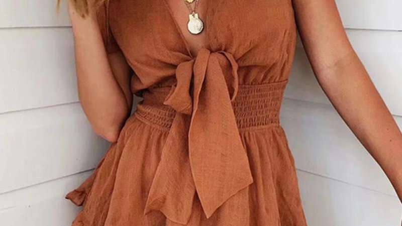 Knot Front Shirring Waist Frill Hem Ruffles Casual Dress
