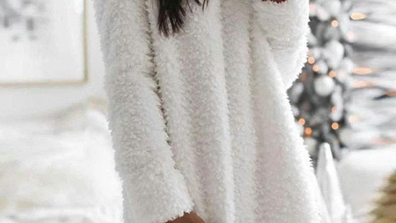 Pocket Design Plain Fluffy Dress