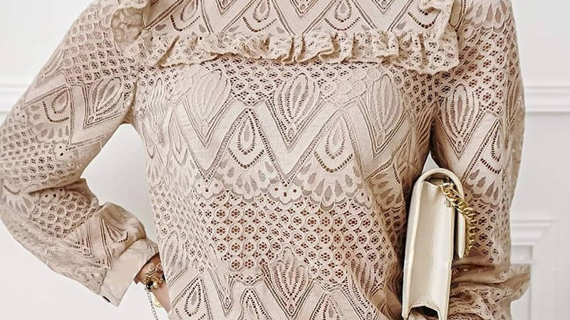 Lace Frill Hem Hollow Out Long Sleeve Top