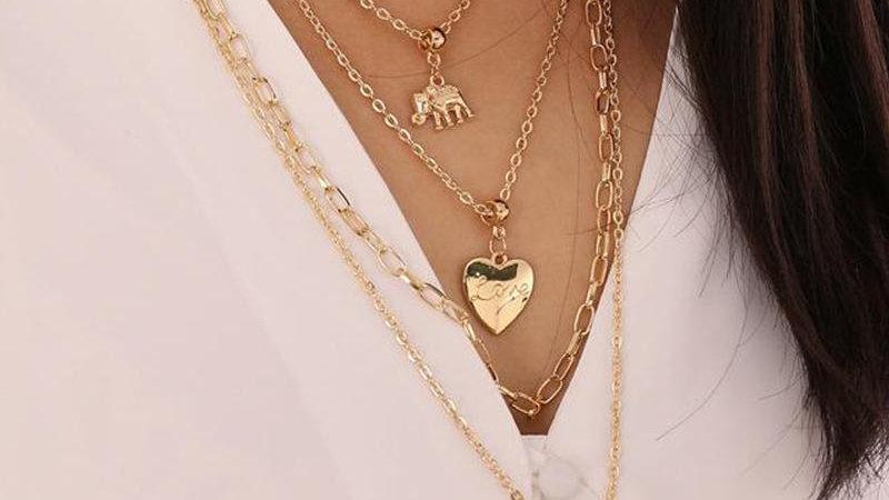 Elephant Love Sailor Buckle Multi-layer Necklace