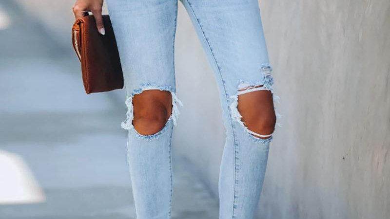 Cut Out Ripped Frayed Hem Casual Jeans
