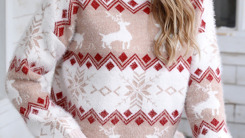 Christmas Fluffy Reindeer Print Knit Ugly Sweater