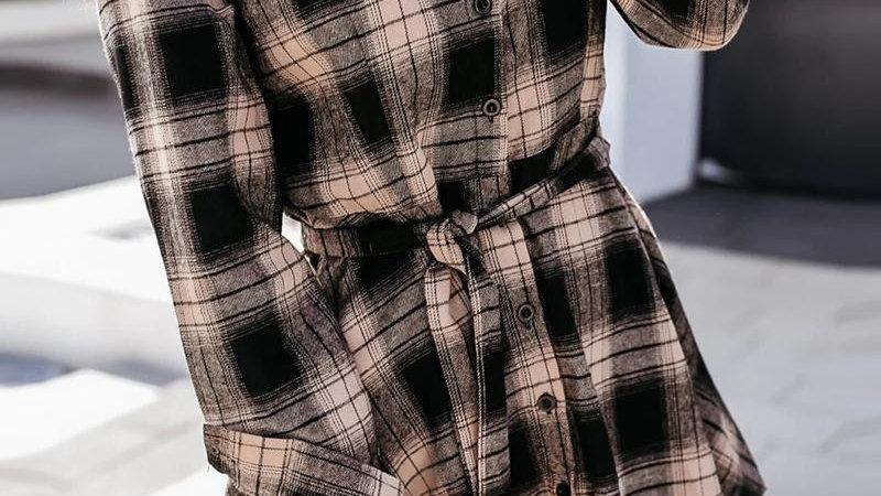 Plaid Colorblock Long Sleeve Shirt Dress