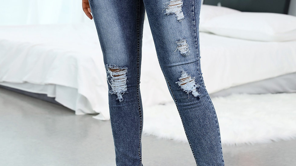 Distressed Cutout Fringe Hem Casual Jeans