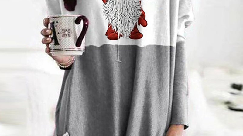 Christmas Santa Print Pocket Design Casual Sweatshirt