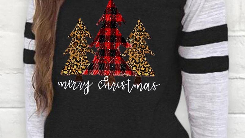 Christmas Long Sleeve Casual Tree Print Sweatshirt