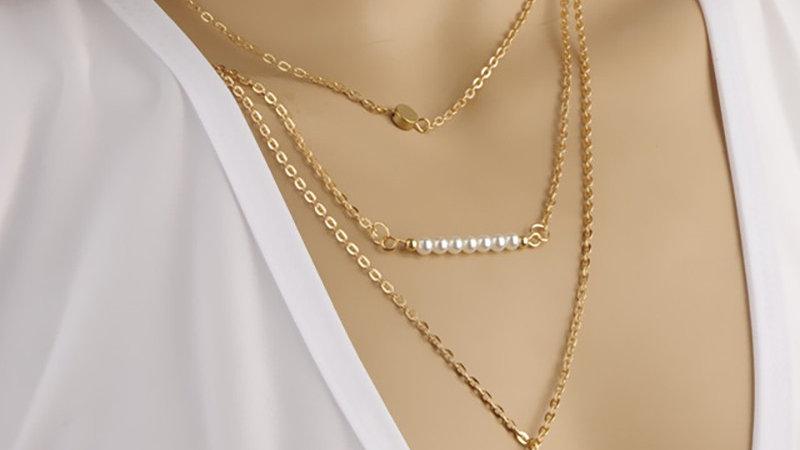 Beaded Geometry Pattern Layered Pendant Necklace