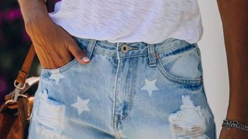 Star Print Ripped Fringe Hem Casual Denim Shorts