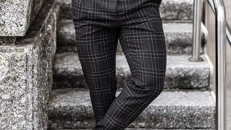 Plaid Business Slim Taper Pants