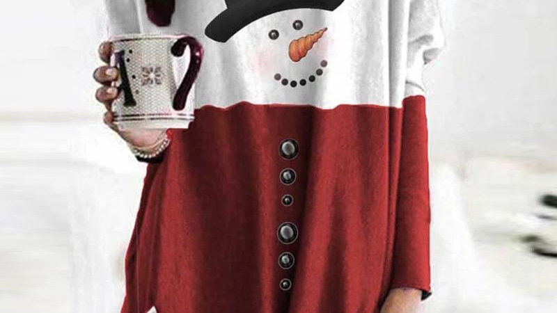 Snowman Print Colorblock Buttoned Casual Sweatshirt