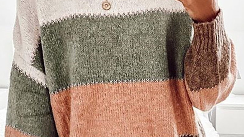 Colorblock Knit Long Sleeve Casual Sweater