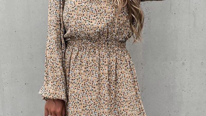 Ditsy Floral Print Bloomer Sleeve Ruffles Skinny Waist Dress