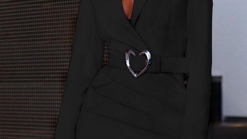 Padded Shoulder Long Sleeve Ruched Blazer Dress