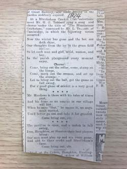 1894 Bluntisham Cricket Club Song