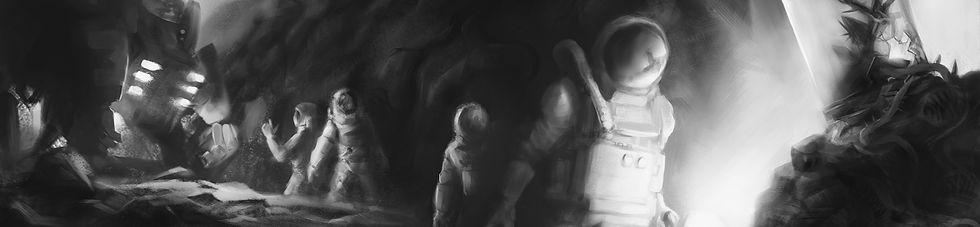 KidLit, Spooky, Astronauts, Cave, Illustration, B+W