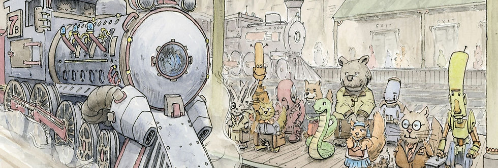 Steampunk, KidLit Illustration, Train Station, Characters, Ink and Watercolor