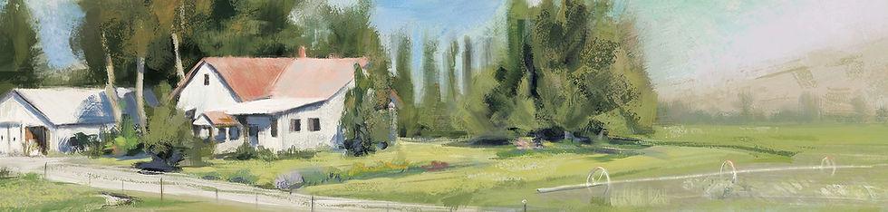 Farmhouse, Landscape, Painting