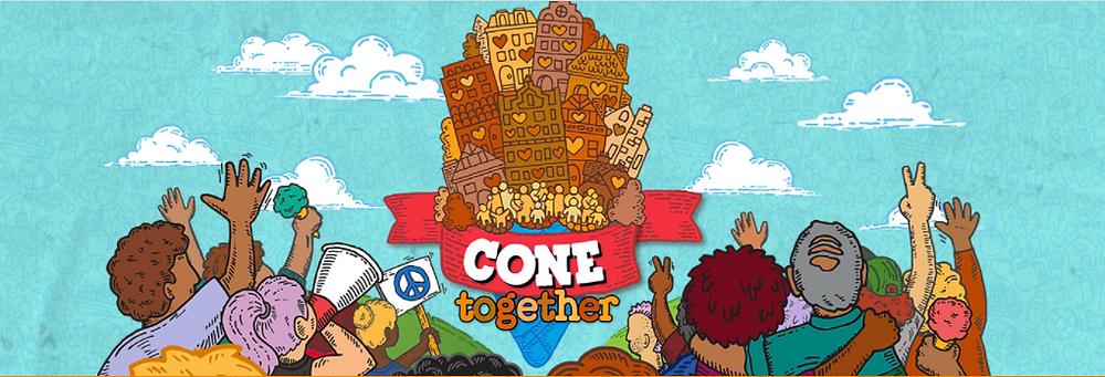 vibrantly colourful picture of people hugging and hold up peace signs with their backs to the viewer looking a giant ice cream cone with the words cone together on the side