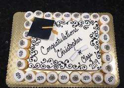 Grad cake with Cupcakes