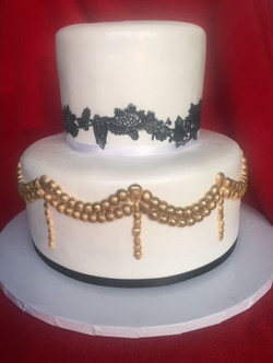 Sam - Black Lace Gold Fondant Swag