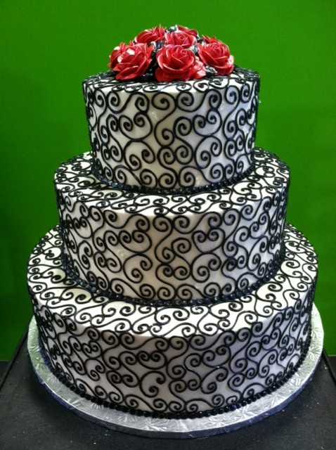 Black Swirls with Red Roses