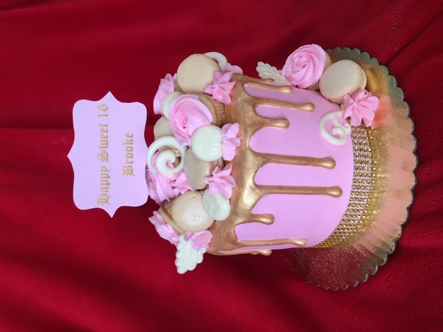 Sweet 16 in Pink and Gold with Macarons.