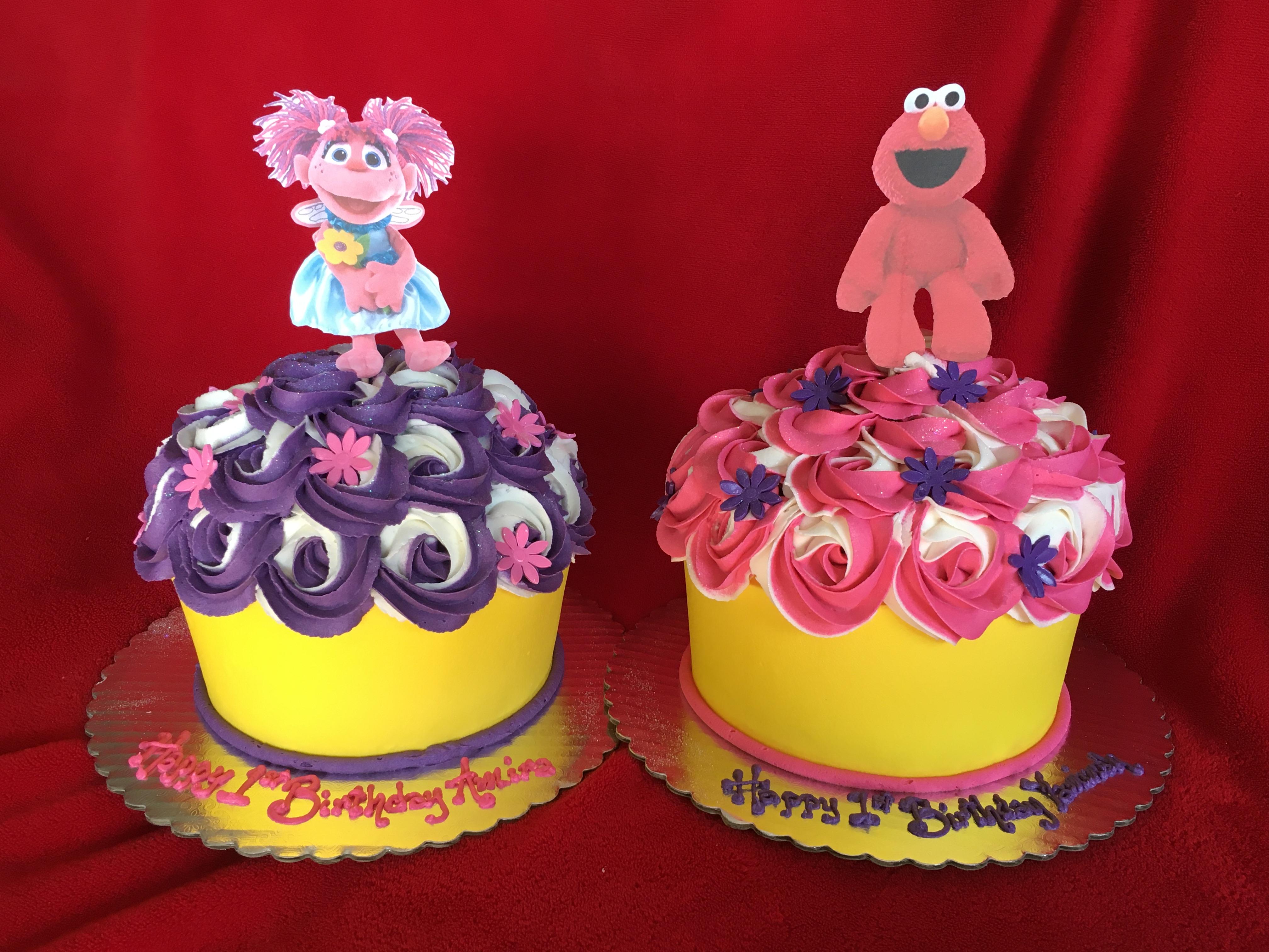 Elmo and Abby Cupcake Cakes