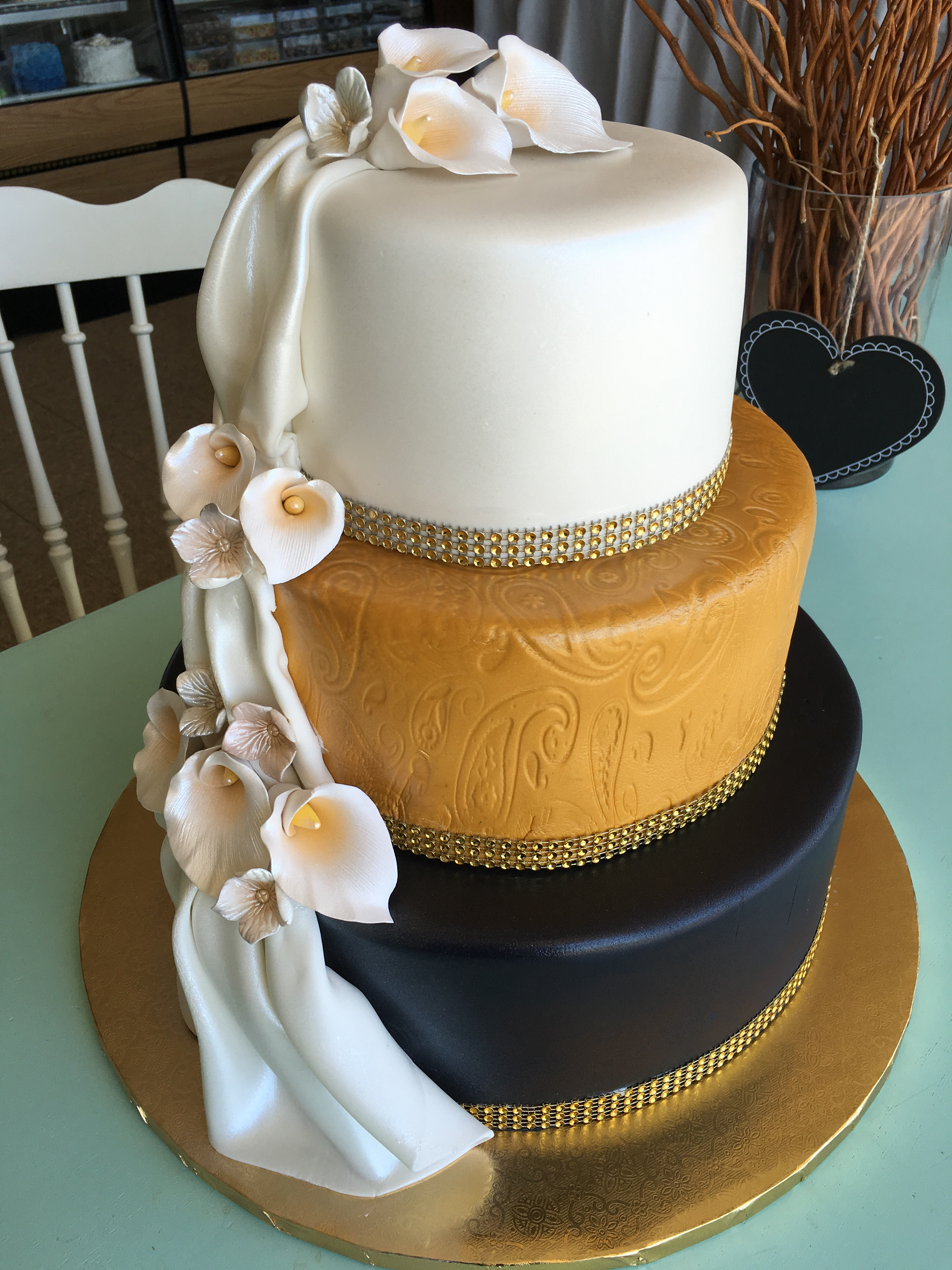 Gold, Black and Calla Lilies