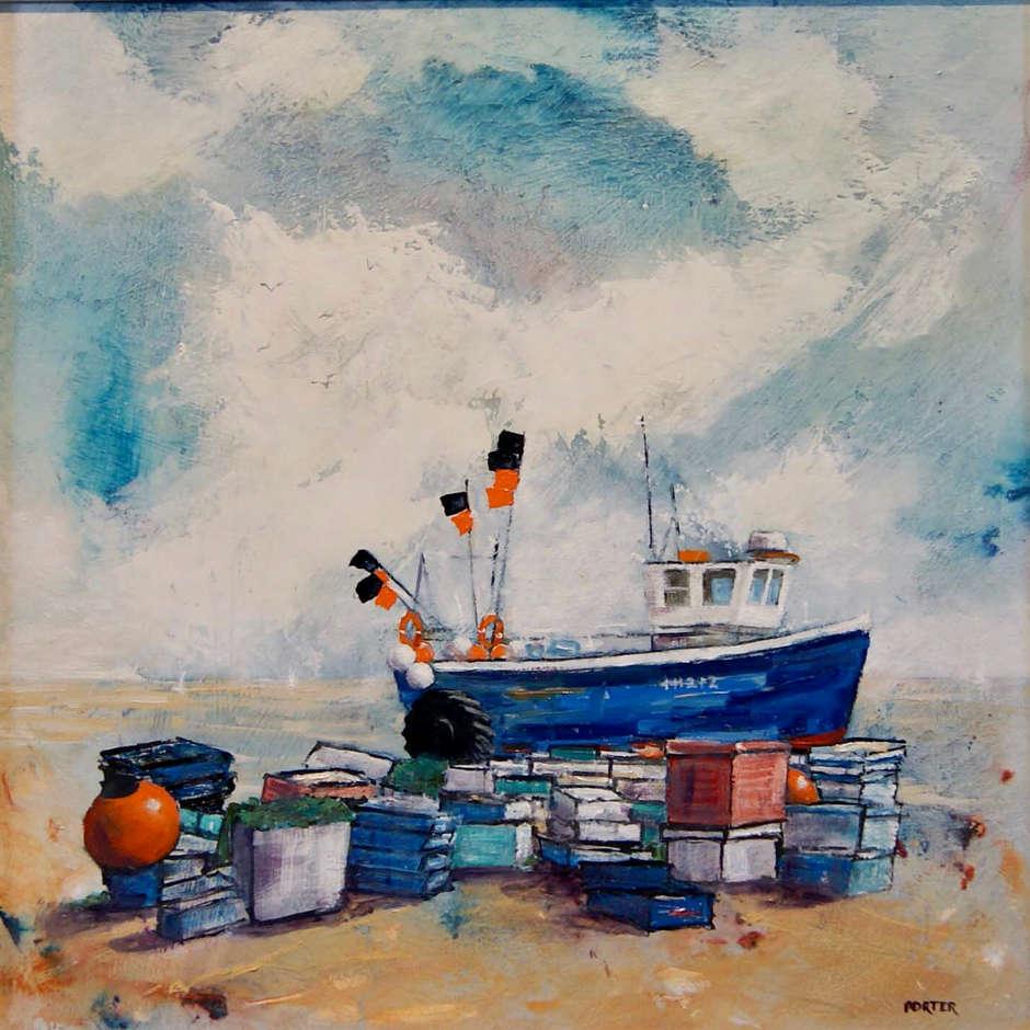 Blue boat on beach Aldeburgh. Trevor Porter