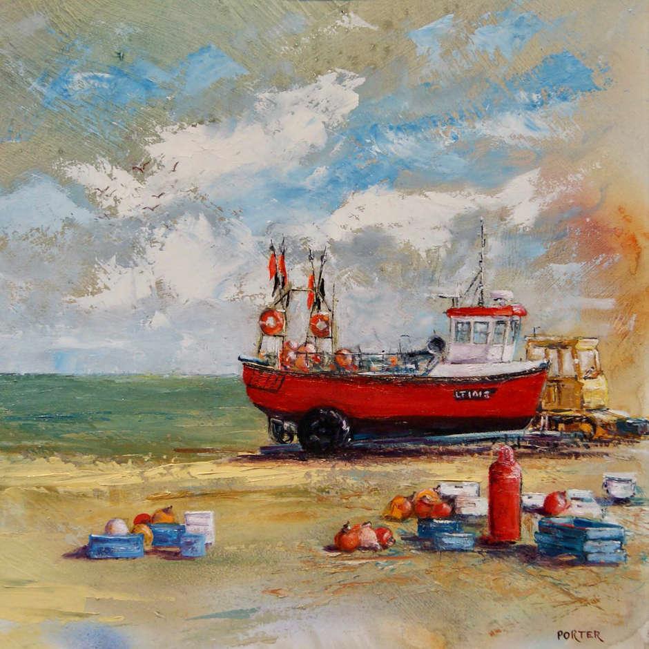 Red fishing Boat on beach. Aldeburgh. Trevor Porter