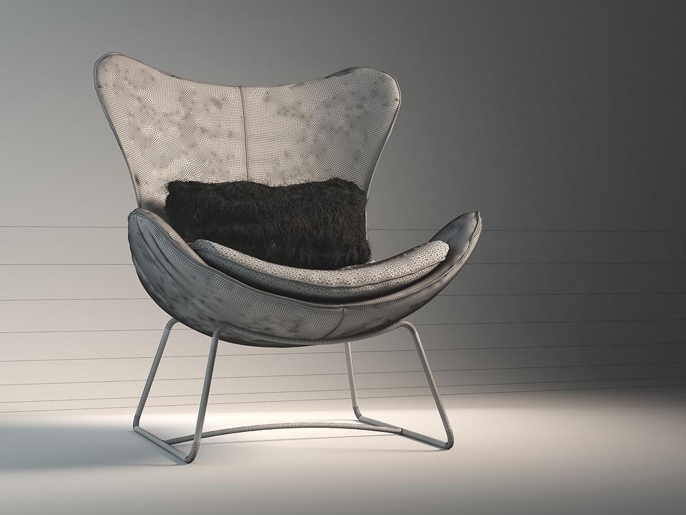 3d chair model - Marvelous Designer / Zbrush