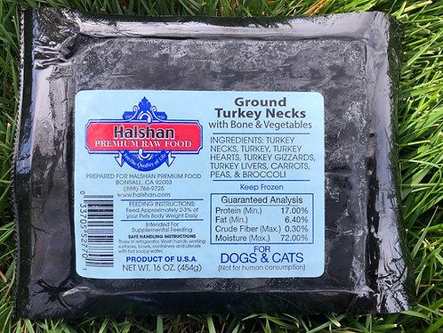 Halshans Premium Ground Turkey Necks with Vegetables