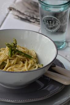 Spaghetti Alfredo with Asparagus