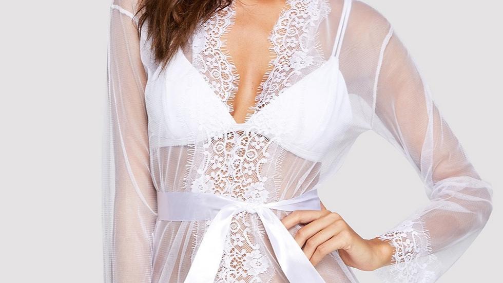 Rosie White Lace Robe