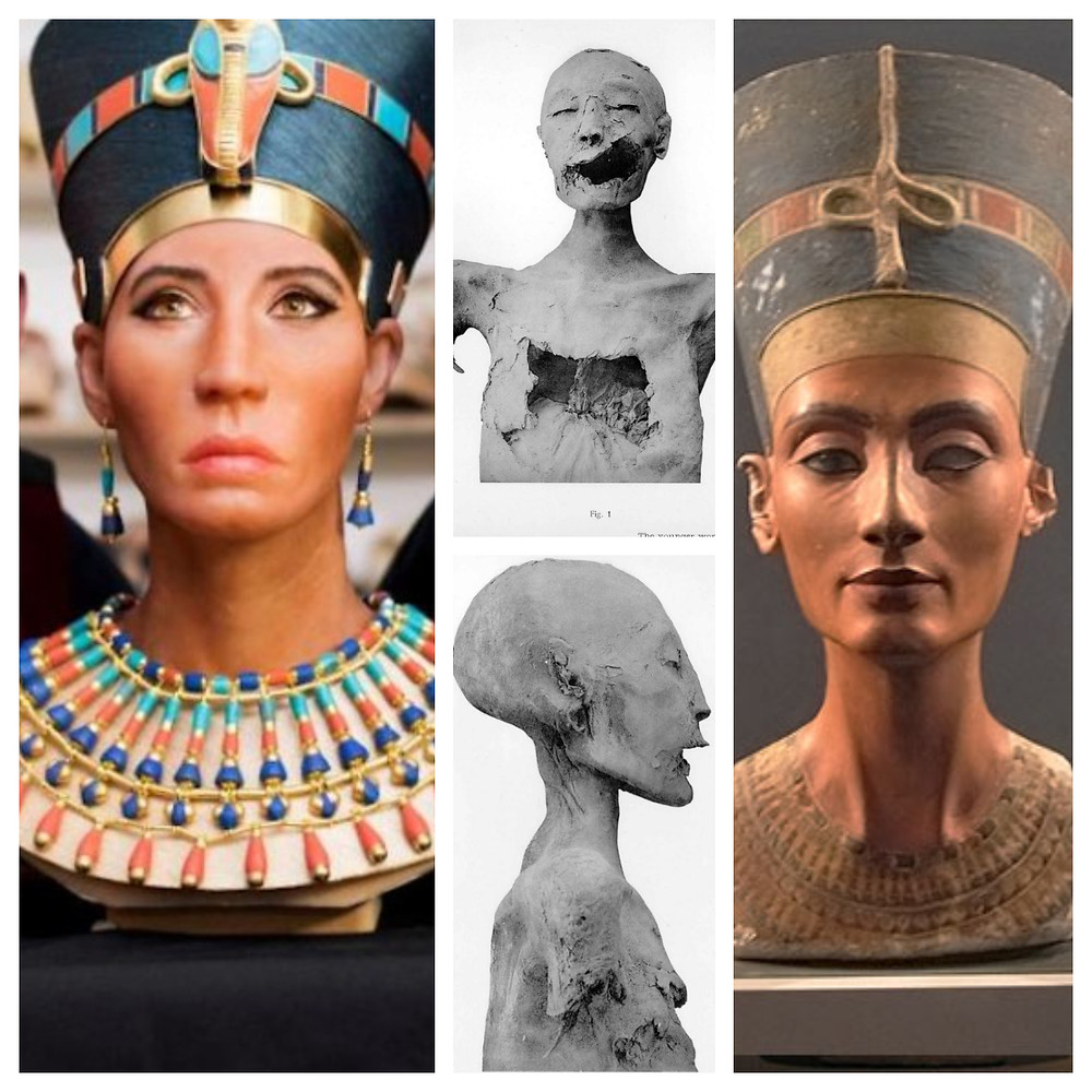 "Whitewashed Queen Nefetiti, ""The Younger Lady"" remains, and the Bust of Nefertiti (1345 B.C.)"