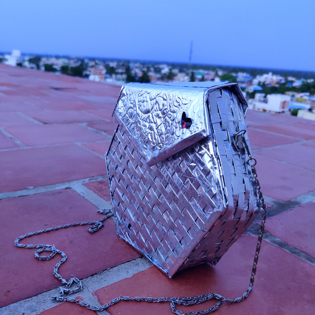 Statement bag made from waste MLP packets by Abhinaya