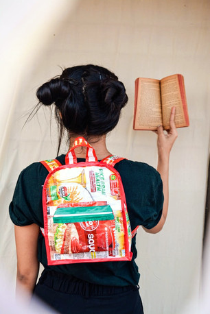 cute back-pack made from waste oil packets by Roanshi
