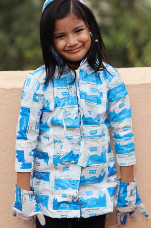 raincoat made from waste milk packets by Saloni