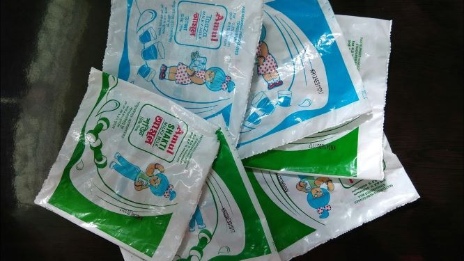 used milk packets