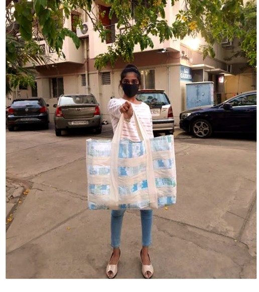 Utility bag made out of waste milk packets by Elaiyabharathi