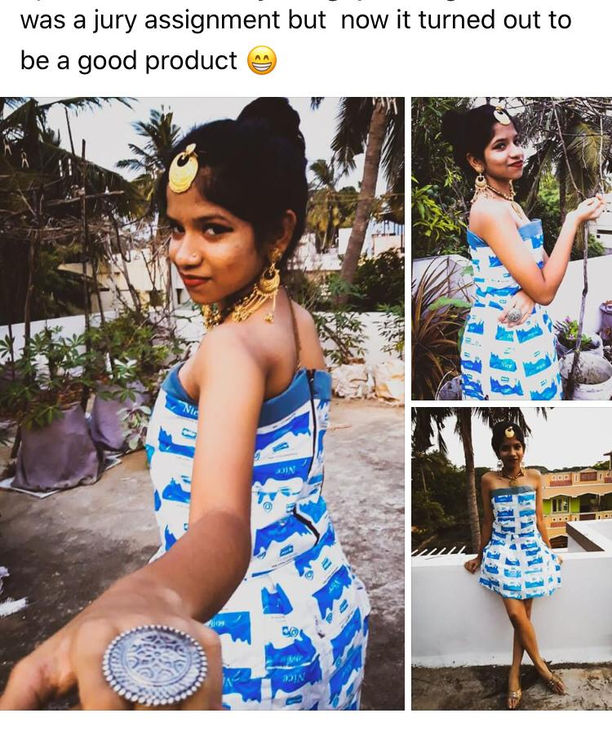 fashionable statement dress made from waste milk packets- by Soupriti Das