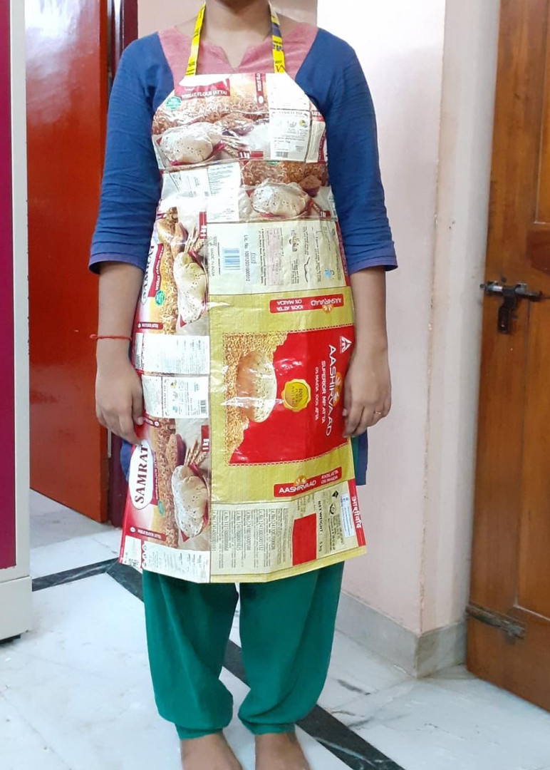 Apron made out of grocery packet