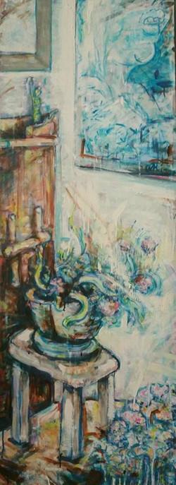 Rincon de mi casa con planta y cuadro I